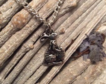 Rabbit necklace, Easter bunny necklace, easter gift, childrens easter gift, easter bunny on 16 inch silver plated chain