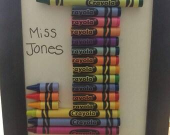 Handmade, Made to Order Framed Crayon Monogramed Letter