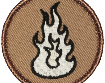 White Flame Patch (013A) 2 Inch Diameter Embroidered Patch