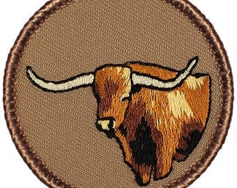 Longhorn Patch (257) 2 Inch Diameter Embroidered Patch
