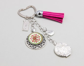 Keychain / Medallion Photo Ethnic Romantic Cabochon ''Acidulous'' Pink Fuschia and Silver