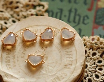 5pcs Real Gold Plated Heart shape zircon connector