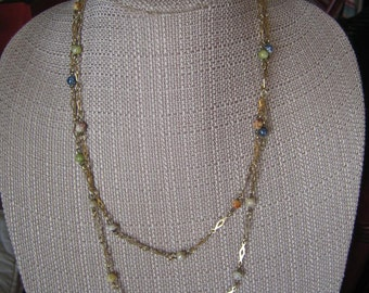 Vintage Gold Tone & Glass Bead Chain Link Necklace