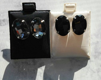 Black and grey rhinestone earrings