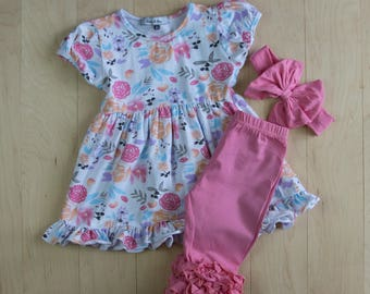 Spring/Summer Zoe Print Short Sleeved Ruffle Pearl Dress with matching capris