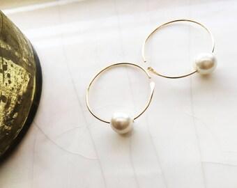 Pearl Hoops Earrings