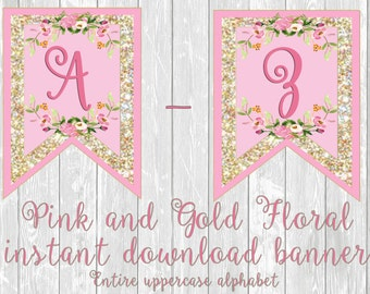 Pink and Gold with Flowers PDF Instand Download banner