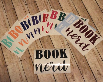 Book Nerd Decal, Car Decal, Laptop Decal, Window Decal, Computer Decal, Nerdy, Reading Decal, Geeky Decal, Book Decal, Book Lover, Library