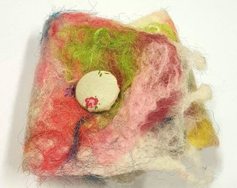 Felted cuff bracelet, rainbow colours