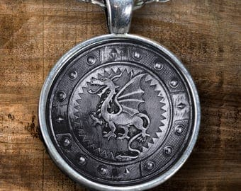 Dragon Shield Handmade Pendant - Unique Gift For Any Vikings or Dungeons and Dragons Fans