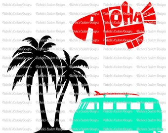 Aloha Fish, Beach Themed Van SVG, PDF, JPEG Files for Silhouette or Cricut