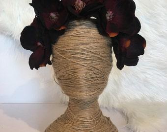 XL Black Burgundy Magnolia Bloom Flower Headband / Fascinator Race Melbourne Cup / Artificial Faux Fake Silk Race Hair Piece Floral