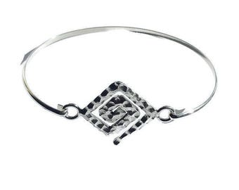 Solid Sterling Silver Modern Hammered Geometric Shape Bangle