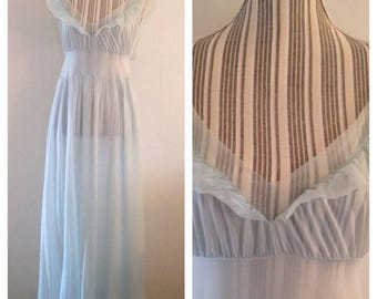 Vintage Blue Nylon Ruffled Nightgown