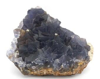 Deep Blue Fluorite Cluster on Matrix – 294g