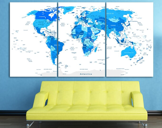 Large blue world map with country names, Travel map Push pin travel map political map of the world detailed map canvas wall art blue oin map