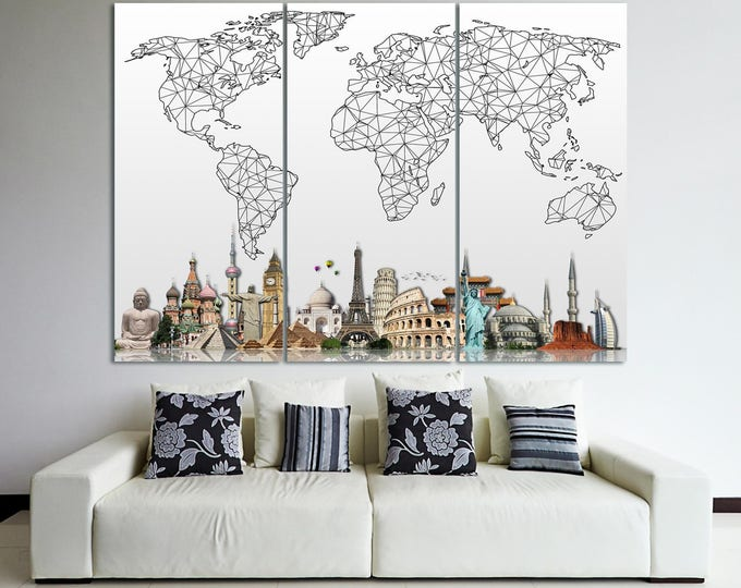 Extra large abstract world map wall art canvas print, geomentric map of the world with sights poster on canvas print set of 3 or 5 panels