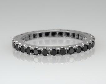 eternity ring black diamond ring promise ring 14k gold ring wedding band