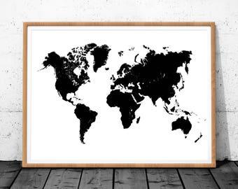 World Map Wood Poster, Printable World Map, World Map Wall Art, World Map Print, World Map Art Decor, World Map Digital, World Map Download