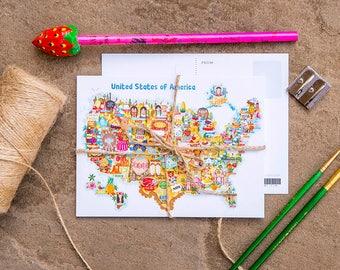 USA Map Illustration Postcard Mini Print