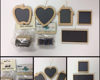 WOODEN CHALKBOARDS & ERASURES/Heart/Apple/Schoolhouse/Square/Rectangle/Shaped/Miniatures/Crafting/Teacher/Ornaments