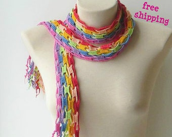 Rainbow scarf, Cotton scarf, Colorful scarf, Knitting scarf, Lightweight scarf, Summer, Crochet scarves, Multicolor scarf, Striped scarf.