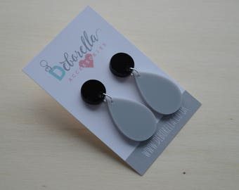 Grey and Black Teardrop Dangle Earrings