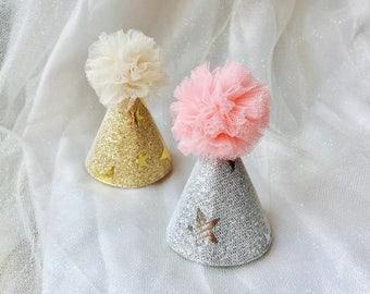 Mini birthday hat mini party hat dog birthday hat dog party hat mini glitter party hat for pets mini hat for dolls birthday hat headbands