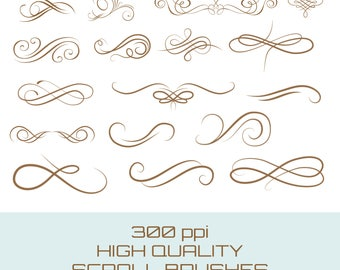 Pack of 17 Scroll Brushes for Photoshop, Great for Invitations, edges, banners etc, Instant Download.