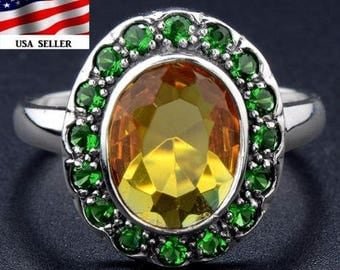 2CT Citrine and Emerald ~  .925 Solid Sterling Silver Edwardian Style ~ U.S. Ring Size 7