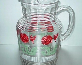 Hazel Atlas Glass Pitcher with Ice Lip, Red Flowers and Butterflies, Green Leaves, 80 oz., Vintage 1950's