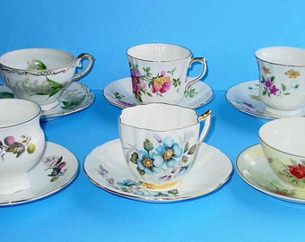 Vintage Lot of (6) assorted Fine Bone China Tea Cups and Saucers, Holmes, Royal London, Clare, Royal Prince, England, Japan, China