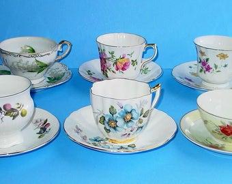 Vintage Lot of (6) assorted Fine Bone China Tea Cups and Saucers, Holmes, Royal London, Clare, Royal Prince, England, Japan, China