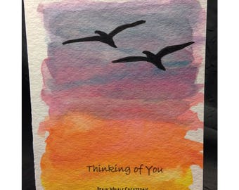 Thinking of You watercolour print and ink greeting card - BLANK INSIDE