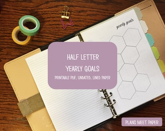 PRINTABLE Half Letter Yearly Goals Insert