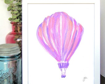 Purple and Pink Hot Air Balloon - Watercolor Print - Kids Room Decor - Nursery Wall Art - Nursery Decor - Baby Shower Gift - Gift for Her