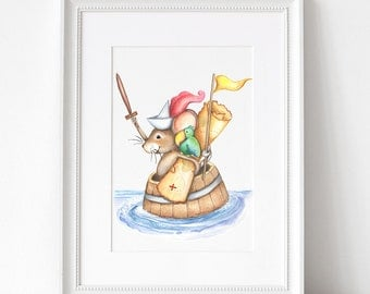 Mouse Pirate, MATTED PRINT, Animal Art, Nursery Art, Nursery Decor, Children's Art, Watercolor, Fine Art Print, Children's Illustrations