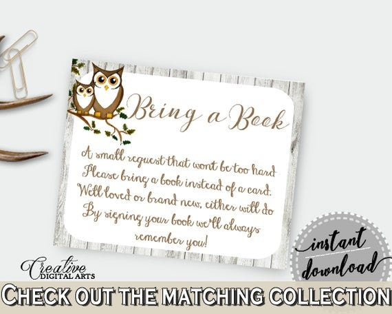 Bring A Book Baby Shower Bring A Book Owl Baby Shower Bring A Book Baby  Shower Owl Bring A Book Gray Brown Party Theme   9PUAC