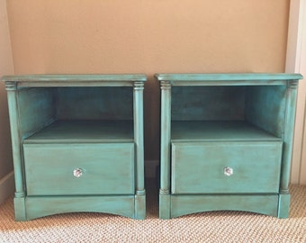 Turquoise Chalk Painted End Tables