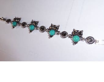 Turquoise And Silver Plated Owl Bracelet