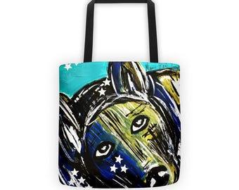 Dog Tote Bag, Dog Tote, Bag, Tote, Art Dog, Beach Tote