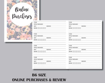 Online Purchases Tracker & Review B6 Sized TRAVELERS NOTEBOOK INSERT