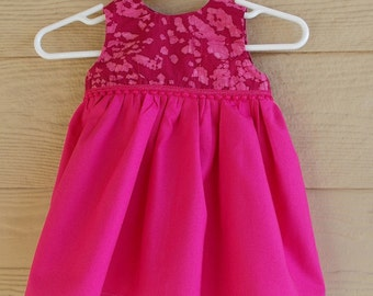 Pink Batik Print Infant Dress and Tuille Trimmed Booties