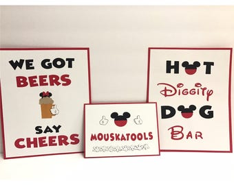Mickey Mouse Party Sign | 8x10 or 5x7 Party Sign | Hot Diggity Dog Bar | We Got Beer Say Cheers | Mouskatools Sign