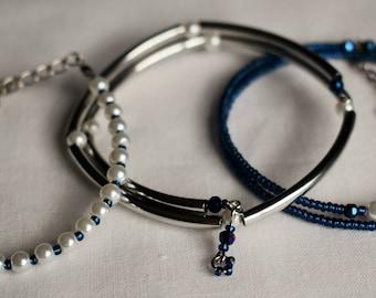 Dark blue and pearl trio bracelet set