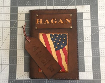 Leather Notebook Cover, Leather Journal, Large Leather Journal, Lined Leather Notebook, Military Journal, Personalize with Name/Initials