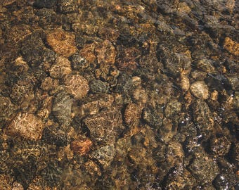 Smooth Pebble Creek Rocks with Ripple Digital Background/Digital Backdrop/Overlay