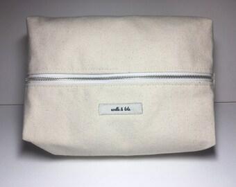 Natural Canvas Dopp Kit, Makeup Bag, Toiletry Kit, Cosmetics Bag, Boho Travel Bag, Travel, Gift for Her, Gift for Traveler, by Noelle & Lola