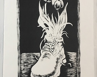 Original lithograph Tulips in a Boot print