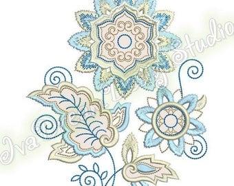 Stylized Blue Flower, embroidery applique design, 3 sizes, 6x8 hoop, 7x12 hoop, 8x12 hoop, Instant Download